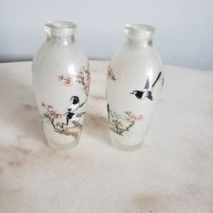 Two Frosted Glass Floral Birds Mini Bud Vases